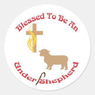 BLESSED BE UNDER SHEPHERD CIR LT CLASSIC ROUND STICKER