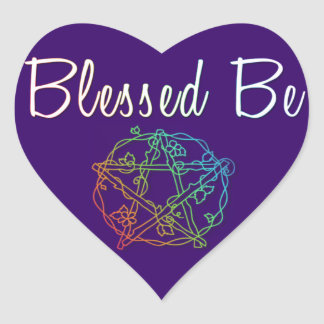 Blessed be with pretty heart pentacle heart sticker