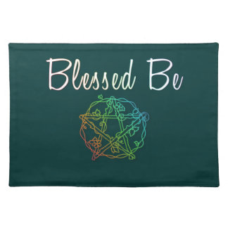 Blessed be with pretty heart pentacle placemat