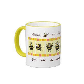 Blessed Bee© The Peacemakers - Yellow Ringer Mug