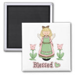 Blessed Blonde Angel 2 Inch Square Magnet
