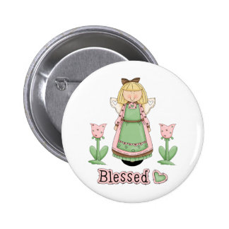 Blessed Blonde Angel Pinback Button