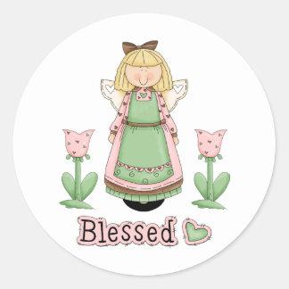 Blessed Blonde Angel Classic Round Sticker