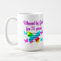 BLESSED BUTTERFLY 75TH BIRTHDAY DESIGN COFFEE MUG