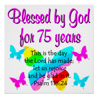 BLESSED BUTTERFLY 75TH BIRTHDAY DESIGN POSTER
