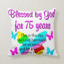 BLESSED BUTTERFLY 75TH BIRTHDAY DESIGN THROW PILLOW