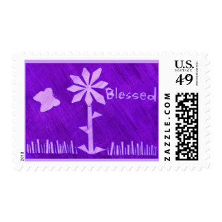 Blessed, butterfly and flower lavender stamps