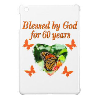 BLESSED BY GOD 60TH BIRTHDAY BUTTERFLY DESIGN CASE FOR THE iPad MINI