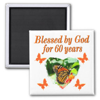 BLESSED BY GOD 60TH BIRTHDAY BUTTERFLY DESIGN MAGNET