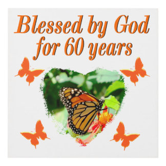 BLESSED BY GOD 60TH BIRTHDAY BUTTERFLY DESIGN PANEL WALL ART