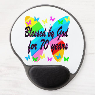 BLESSED BY GOD 70TH BUTTERFLY DESIGN GEL MOUSE PAD