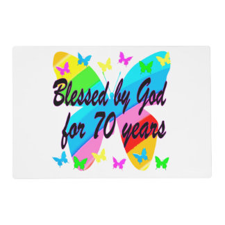 BLESSED BY GOD 70TH BUTTERFLY DESIGN PLACEMAT