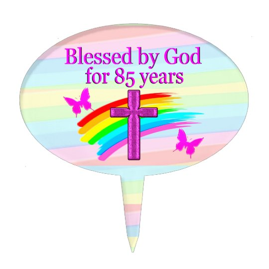 BLESSED BY GOD 85TH BIRTHDAY CAKE TOPPER