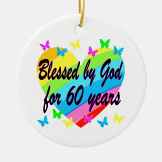 BLESSED BY GOD FOR 60 YEARS HEART DESIGN CERAMIC ORNAMENT