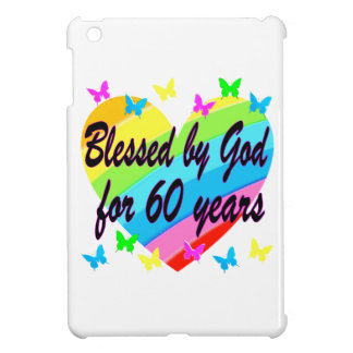 BLESSED BY GOD FOR 60 YEARS HEART DESIGN iPad MINI CASES
