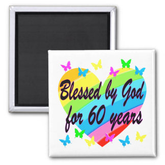 BLESSED BY GOD FOR 60 YEARS HEART DESIGN MAGNET