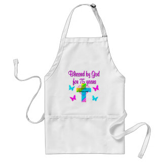 BLESSED BY GOD FOR 75 YEARS PERSONALIZED DESIGN ADULT APRON