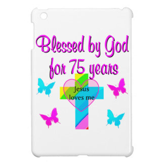 BLESSED BY GOD FOR 75 YEARS PERSONALIZED DESIGN iPad MINI CASE