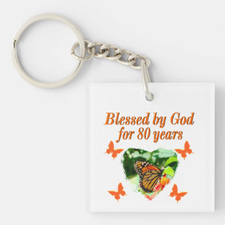 BLESSED BY GOD FOR 80 YEARS BUTTERFLY PHOTO KEYCHAIN