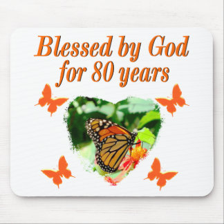 BLESSED BY GOD FOR 80 YEARS BUTTERFLY PHOTO MOUSE PAD