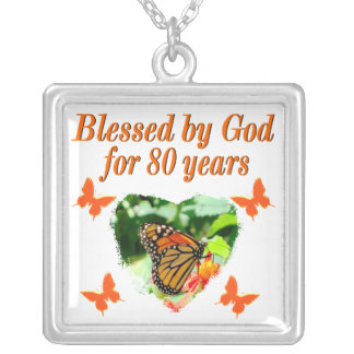 BLESSED BY GOD FOR 80 YEARS BUTTERFLY PHOTO SQUARE PENDANT NECKLACE