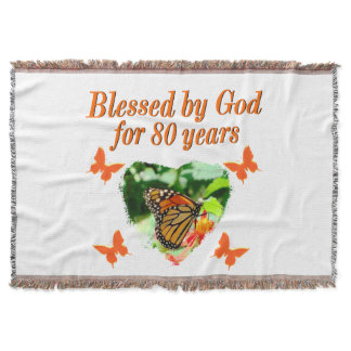 BLESSED BY GOD FOR 80 YEARS BUTTERFLY PHOTO THROW