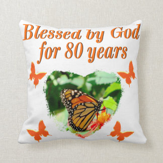 BLESSED BY GOD FOR 80 YEARS BUTTERFLY PHOTO THROW PILLOW
