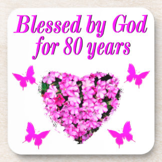 BLESSED BY GOD FOR 80 YEARS FLORAL DESIGN BEVERAGE COASTER
