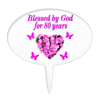 BLESSED BY GOD FOR 80 YEARS FLORAL DESIGN CAKE TOPPER