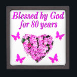 "BLESSED BY GOD FOR 80 YEARS FLORAL DESIGN JEWELRY BOX<br><div class=""desc"">This lovely and charming 80 year old will love to celebrate turning 80 with this beautiful pink floral Loved By Jesus for 80 years photo designs on a terrific selection of Tees, jewelry, party goods and favors and a fantastic selection of gifts. This 80 year old has been Blessed By...</div>"