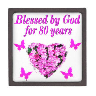 BLESSED BY GOD FOR 80 YEARS FLORAL DESIGN JEWELRY BOX