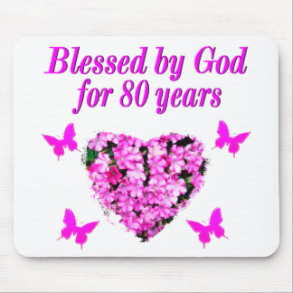 BLESSED BY GOD FOR 80 YEARS FLORAL DESIGN MOUSE PAD