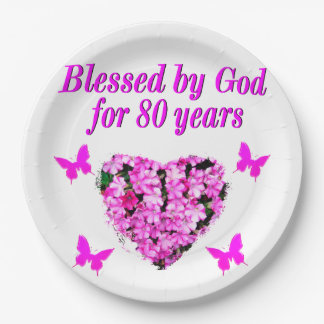 BLESSED BY GOD FOR 80 YEARS FLORAL DESIGN PAPER PLATE