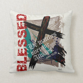Blessed - Christian Bible Scripture John 10:29 Throw Pillow