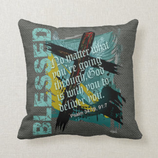 Blessed Christian Bible Scripture Psalm 34:19 91:7 Throw Pillow