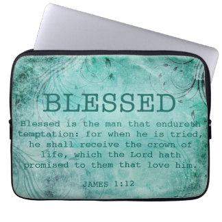 BLESSED Christian James 1:12 Crown of Life Computer Sleeve