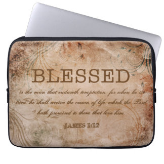 BLESSED Christian James 1:12 Crown of Life Laptop Computer Sleeve