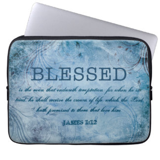 BLESSED Christian James 1:12 Crown of Life Laptop Computer Sleeves