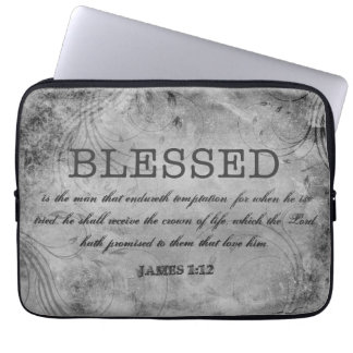 BLESSED Christian James 1:12 Crown of Life Laptop Sleeve