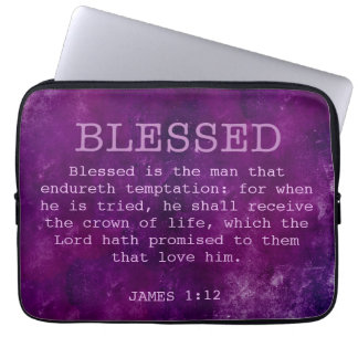 BLESSED Christian James 1:12 Crown of Life Purple Laptop Sleeves