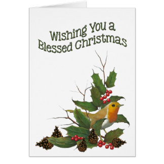 Blessed Christmas: Christian: English Robin, Holly Card