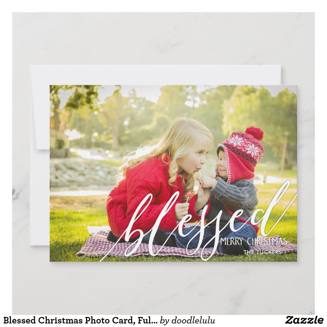Blessed Christmas Photo Card, Full-photo Holiday Card