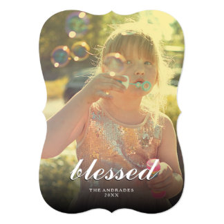 Blessed Christmas Picture Modern Holiday Photo 5x7 Paper Invitation Card