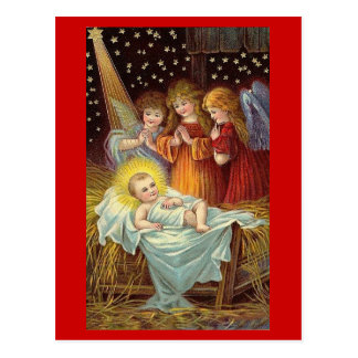 Blessed Christmas Three Angels Watching Baby Jesus Post Cards