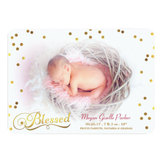 Blessed Confetti Photo Girl Birth Announcement