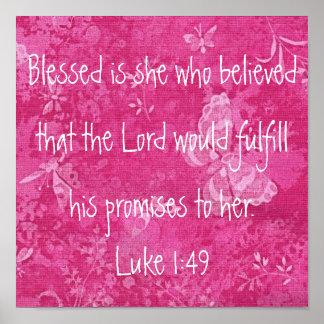 Blessed es ella que creyó verso de la biblia póster