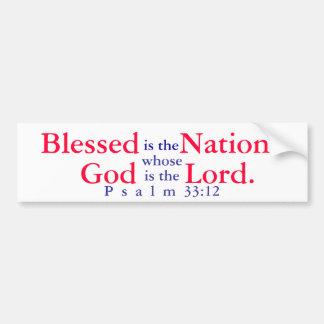 Blessed es la nación cuyo dios es el señor T-shir Etiqueta De Parachoque