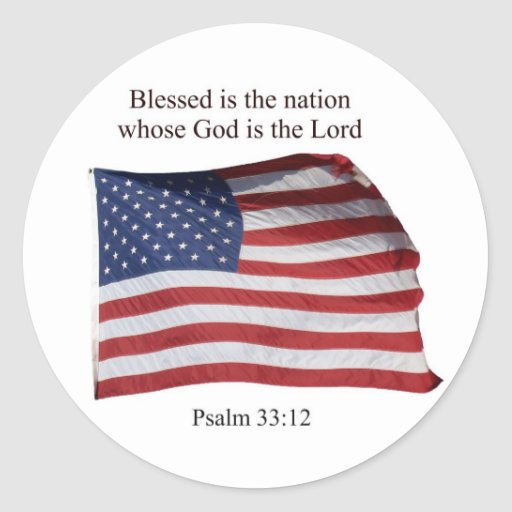 Blessed es la nación etiquetas redondas