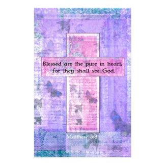 Blessed es la pura en VERSO de la BIBLIA del coraz Papeleria De Diseño