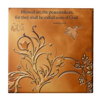 Blessed es los pacificadores azulejo cuadrado pequeño